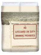 No Swimming Duvet Cover by Lisa Russo