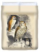 Nocturnal Scene With Three Owls Duvet Cover