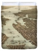 Norfolk And Portsmouth Map Duvet Cover