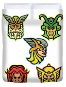 Norse Gods Mascot Collection Duvet Cover