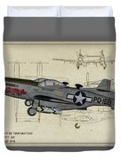 North American F-82b Twin Mustang - Profile Art Duvet Cover