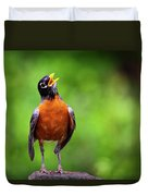 North American Robin In Song Duvet Cover