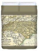 North Carolina Antique Map 1891 Duvet Cover