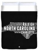 North Carolina Black And White Word Cloud Map Duvet Cover