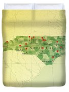 North Carolina Map Square Cities Straight Pin Vintage Duvet Cover