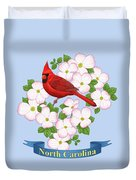 North Carolina State Bird And Flower Duvet Cover by Crista Forest