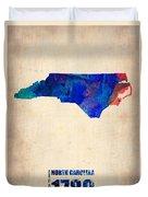 North Carolina Watercolor Map Duvet Cover