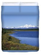 North Face Of Mount Mckinley, Lake Duvet Cover