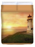 North Head Lighthouse At Sunset Duvet Cover