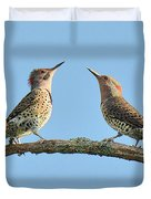 Northern Flickers Communicate Duvet Cover