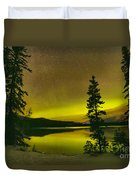 Northern Lights Over The Pines Duvet Cover