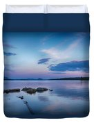Northern Maine Sunset Over Lake Duvet Cover