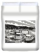 Gig Harbor Yacht Moorage Duvet Cover