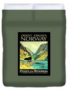 Norway Orient Cruises, Vintage Travel Poster Duvet Cover
