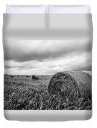 Nostalgia - Hay Bales In Field In Black And White Duvet Cover