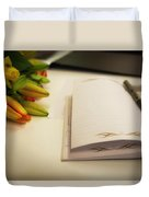 Notebook And Pen Duvet Cover
