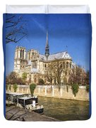 Notre Dame And The Seine Painterly Duvet Cover