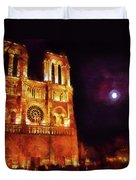 Notre Dame In The Autumn Moonlight Duvet Cover