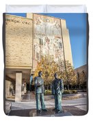 Notre Dame Library And Statue Duvet Cover