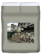 Notre Dame Street Art Duvet Cover