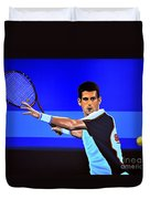 Novak Djokovic Duvet Cover by Paul Meijering