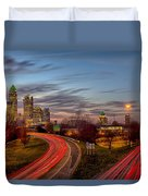 November Sun Setting Over Charlotte North Carolina Skyline Duvet Cover