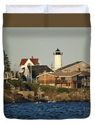 Nubble Light House Beach View Duvet Cover