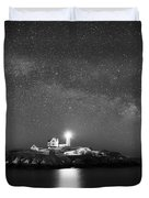 Nubble Lighthouse Milky Way Pano Bw Duvet Cover
