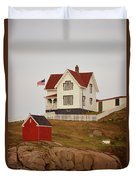 Nubble Lighthouse Shed And House Duvet Cover
