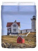Nubble Lighthouse York Maine Duvet Cover