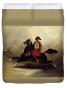 Nubian Horseman At The Gallop Duvet Cover