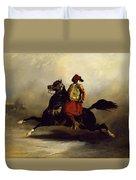 Nubian Horseman At The Gallop Duvet Cover by Alfred Dedreux or de Dreux