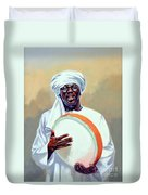 Nubian Musician Player Playing Duff Duvet Cover