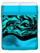 Nude Blue Female Under Abstract Sky Duvet Cover