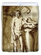 Nude Drawing For A Youth Duvet Cover