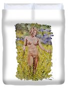 Nude In Field Duvet Cover