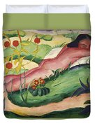 Nude Lying In The Flowers 1910 Duvet Cover