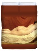 Nude Lying On A Sofa Against A Red Curtain Duvet Cover