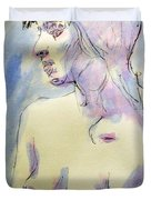Nude Portrait Drawing Sketch Of Young Nude Woman Feeling Sensual Sexy And Lonely Watercolor Acrylic Duvet Cover
