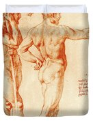Nude Study Of Two Warriors Duvet Cover
