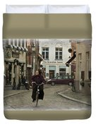 Nun On A Bicycle In Bruges Duvet Cover