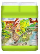 Nuremberg, Hand Drawn Picture Duvet Cover