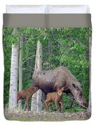Nursing Moose Duvet Cover