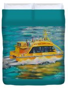Ny Water Taxi Duvet Cover by Milagros Palmieri