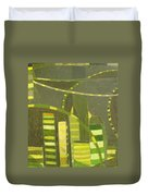 Nyc In Deep Green Duvet Cover