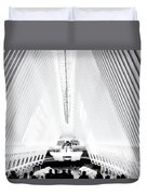 Nyc- Inside The Oculus In Black And White Duvet Cover