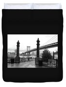 Nyc Manhattan Bridge Bw Duvet Cover