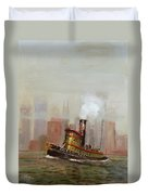 Nyc Tug Duvet Cover by Christopher Jenkins