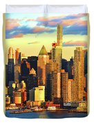 Nyc West Side In Gold And Blue  Duvet Cover