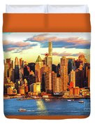 Nyc West Side Skyscrapers At Sundown Duvet Cover